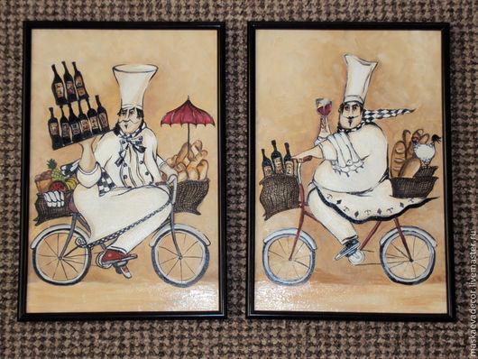 Люди, ручной работы. Ярмарка Мастеров - ручная работа. Купить Картина маслом Повара  размер 30 х 21 см.. Handmade.