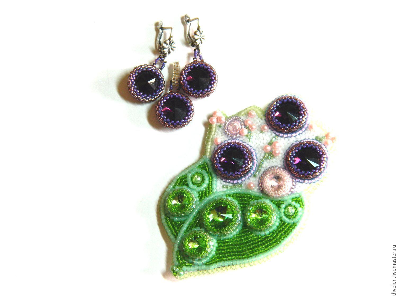 Spring flowers. Jewelry set. Brooch-boutonniere,earrings,pendant, Jewelry Sets, Divnogorsk,  Фото №1