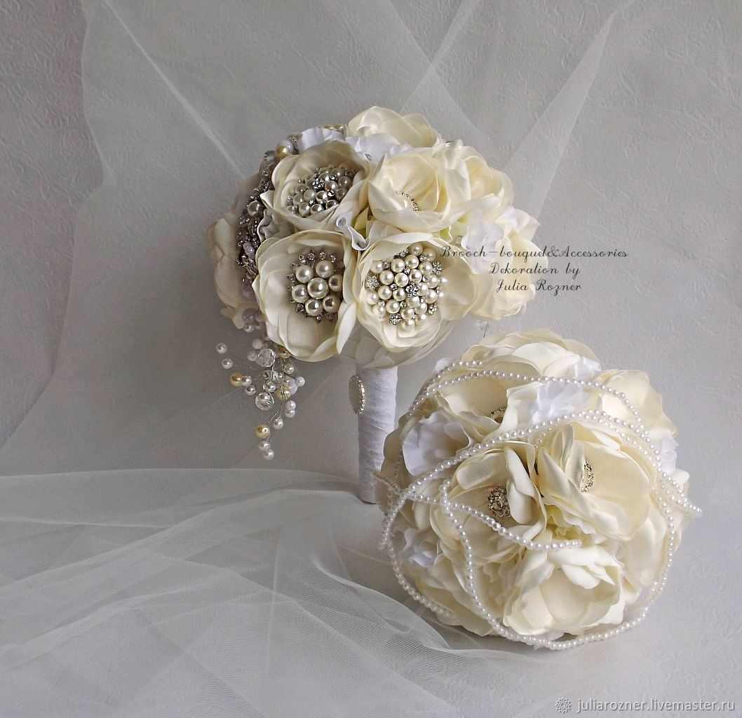 White Wedding Brooch Bouquet Ivory Bouquet Of Brooches The Bride
