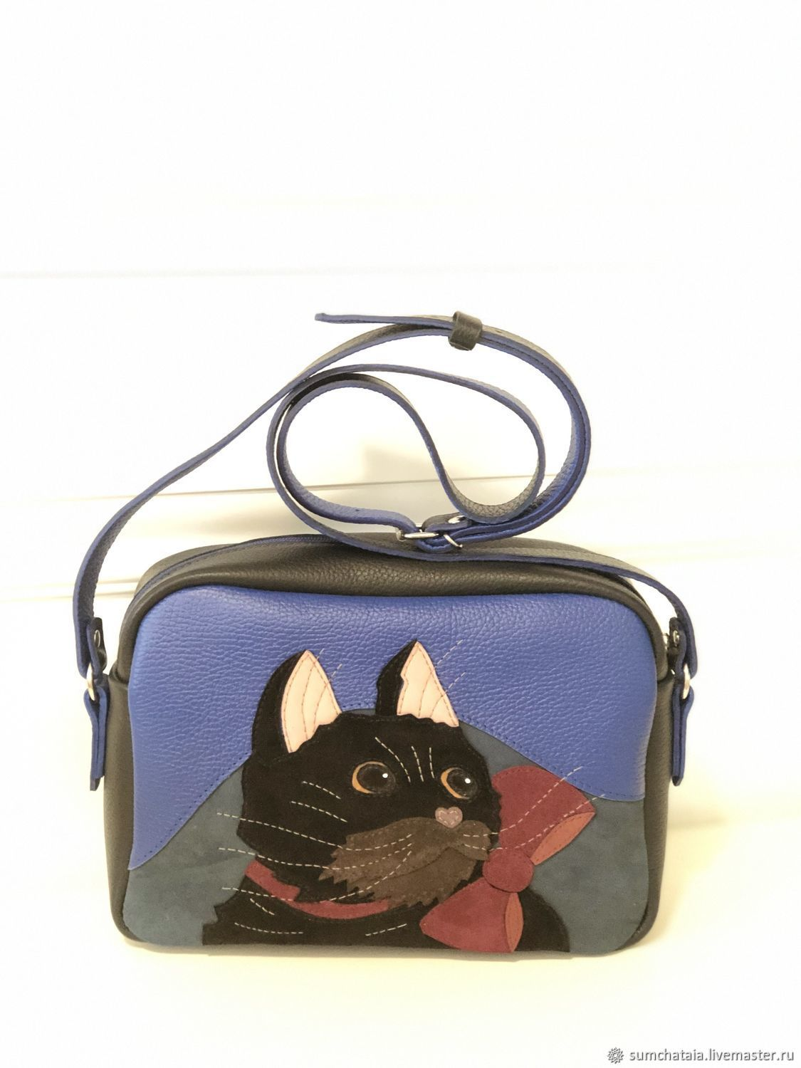 Leather cross-body bag ' once upon a time there Was a black cat», Crossbody bag, Yaroslavl,  Фото №1