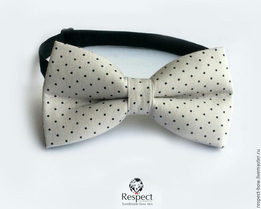 Grey tie in black Swiss dot Polka Dot Respect, Ties, Moscow,  Фото №1