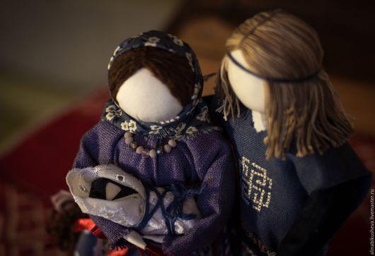 """Народные куклы ручной работы. Ярмарка Мастеров - ручная работа. Купить Авторские куклы-обереги """"Семья"""". Handmade. Тёмно-синий"""