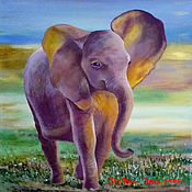 Pictures handmade. Livemaster - original item Painting with an elephant