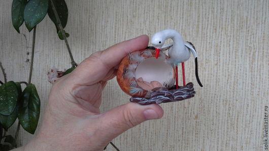 """Яйца ручной работы. Ярмарка Мастеров - ручная работа. Купить Яйцо - гнездышко """"Золотце"""". Handmade. Золотой, младенец из пластики"""