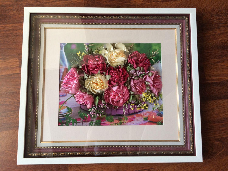 """Картина лентами """"Розовые и желтые пионы"""", Картины, Самара, Фото №1"""