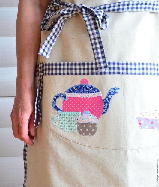 Кухня ручной работы. Ярмарка Мастеров - ручная работа. Купить Фартук льняной с аппликацией. Handmade. Комбинированный, подарок девушке, бисер