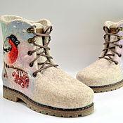 """Валяные ботинки """"Красногрудые снегири"""""""