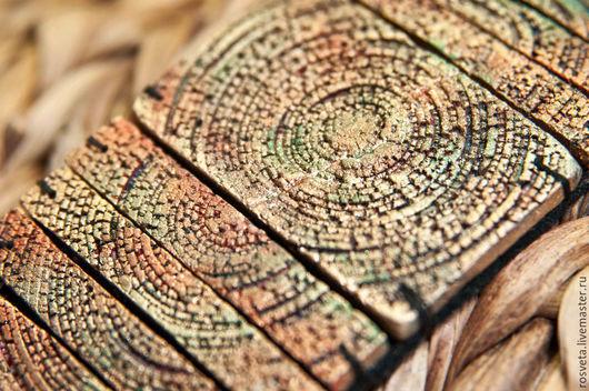 Браслеты ручной работы. Ярмарка Мастеров - ручная работа. Купить широкий браслет из полимерной глины Медная радуга. Handmade. Разноцветный