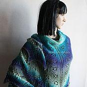 Аксессуары handmade. Livemaster - original item Pure wool openwork shawl in blue-gray tones. Handmade.