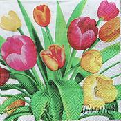 Материалы для творчества handmade. Livemaster - original item 6pcs napkins decoupage flowers tulips holiday print. Handmade.