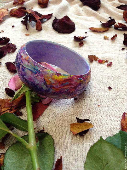 Браслеты ручной работы. Ярмарка Мастеров - ручная работа. Купить Браслет Фиолетовые дюны. Handmade. Фиолетовый, яркий браслет, дерево