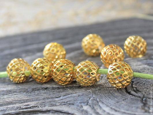 Бусины латунь Золото  Ажурная сеточка  Бусины металлические Ажурная сеточка из латуни с покрытием имитирующим золото для сборки украшений