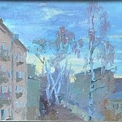 """Картины и панно ручной работы. Ярмарка Мастеров - ручная работа Картины маслом """"Утро и вечер"""" диптих городской пейзаж. Handmade."""
