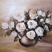 """Картины и панно ручной работы. Ярмарка Мастеров - ручная работа Картина маслом """"Чайные розы"""". Handmade."""