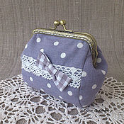 Сумки и аксессуары handmade. Livemaster - original item cosmetic bag on the clasp grey polka dot with lace. Handmade.
