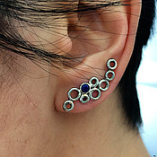 Cuff Earrings handmade. Livemaster - original item Silver cuff Earrings transformers - Cuff with the blue stone. Handmade.