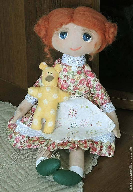 Человечки ручной работы. Ярмарка Мастеров - ручная работа. Купить Маняша с медведем. Handmade. Рыжий, кукла для дома, подарок девочке