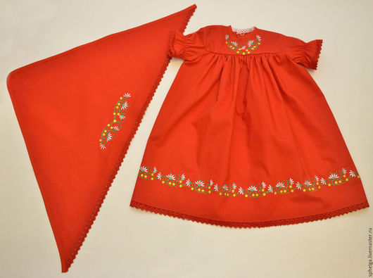 Одежда для девочек, ручной работы. Ярмарка Мастеров - ручная работа. Купить Платице с косыночкой в русском-народном стиле. Handmade. Платье