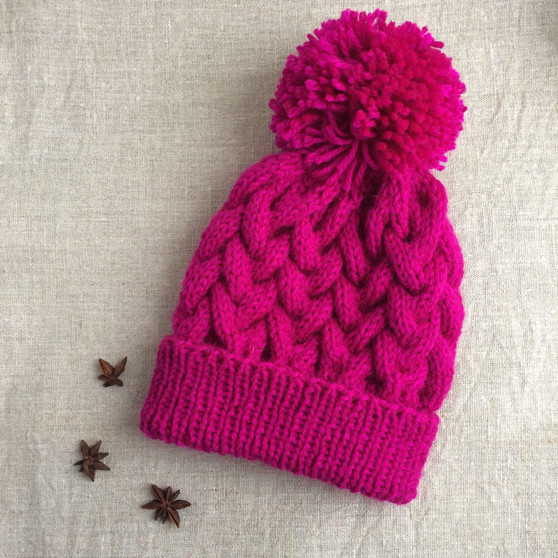 Вязание шапочки женской с косами 87