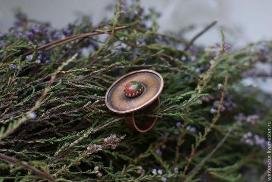 Кольца ручной работы. Ярмарка Мастеров - ручная работа. Купить Медное кольцо с унакитом. Handmade. Крупное кольцо, кольцо с камнем