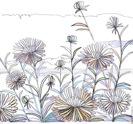 Картины цветов ручной работы. Ярмарка Мастеров - ручная работа. Купить Графика Астры. Handmade. Астра, графика, цветочки, графиканатали