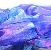 Аксессуары ручной работы. Ярмарка Мастеров - ручная работа яркий шарф шёлковый бирюзово голубой с фуксией и сиреневым. Handmade.