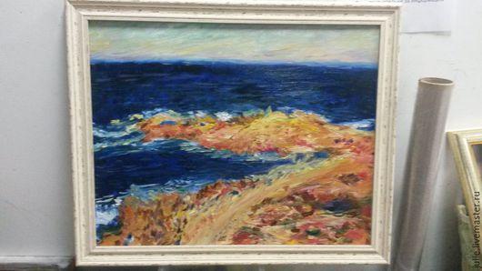 Пейзаж ручной работы. Ярмарка Мастеров - ручная работа. Купить Blue . Meditarranean at Antibes, Claude Monet. Handmade. Разноцветный