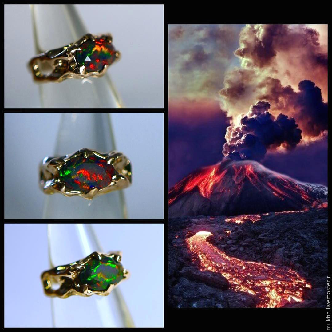 Ring 'Volcano' with black opal, Rings, Moscow,  Фото №1