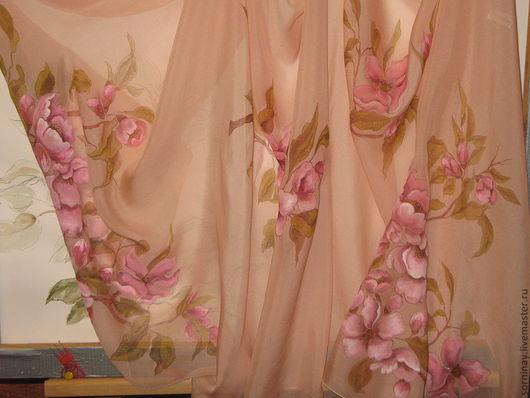 """Шарфы и шарфики ручной работы. Ярмарка Мастеров - ручная работа. Купить Шарф """"Яблони в цвету"""". Handmade. Бледно-розовый, Батик"""