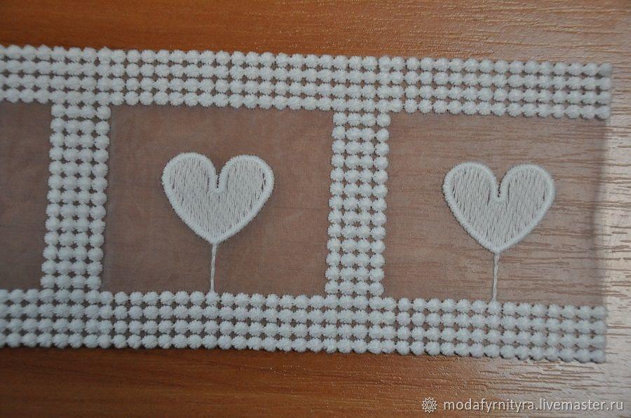 Тесьма для отделки белая с сердечками, Тесьмы, Москва,  Фото №1