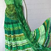 """Одежда ручной работы. Ярмарка Мастеров - ручная работа """"Малахит""""  Ярко-зеленая длинная шелковая юбка бохо. .. Handmade."""