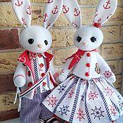 Куклы и игрушки handmade. Livemaster - original item Rabbits in a marine style. Handmade.