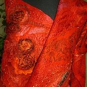 Аксессуары ручной работы. Ярмарка Мастеров - ручная работа валяный палантин Огненные розы. Handmade.