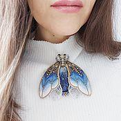 Украшения handmade. Livemaster - original item Moth brooch in shades of blue, 9,5 x 8,5 cm. Handmade.