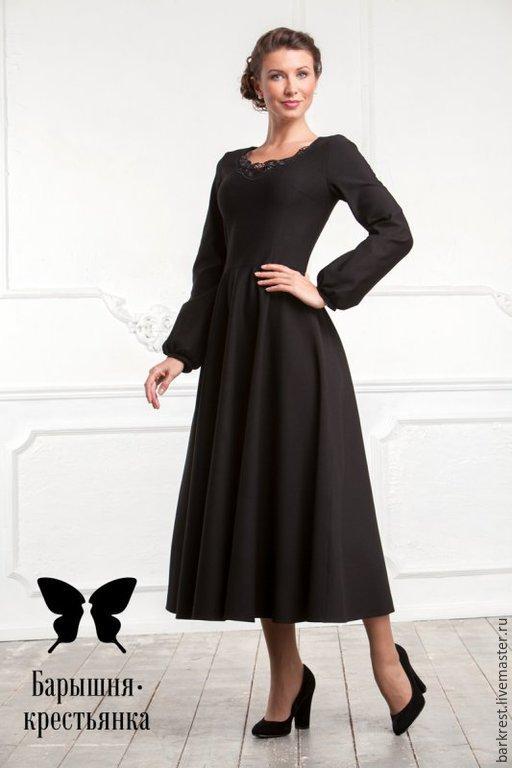Платья ручной работы. Ярмарка Мастеров - ручная работа. Купить Черный лебедь. Handmade. Черный, платье для храма, платье на крещение