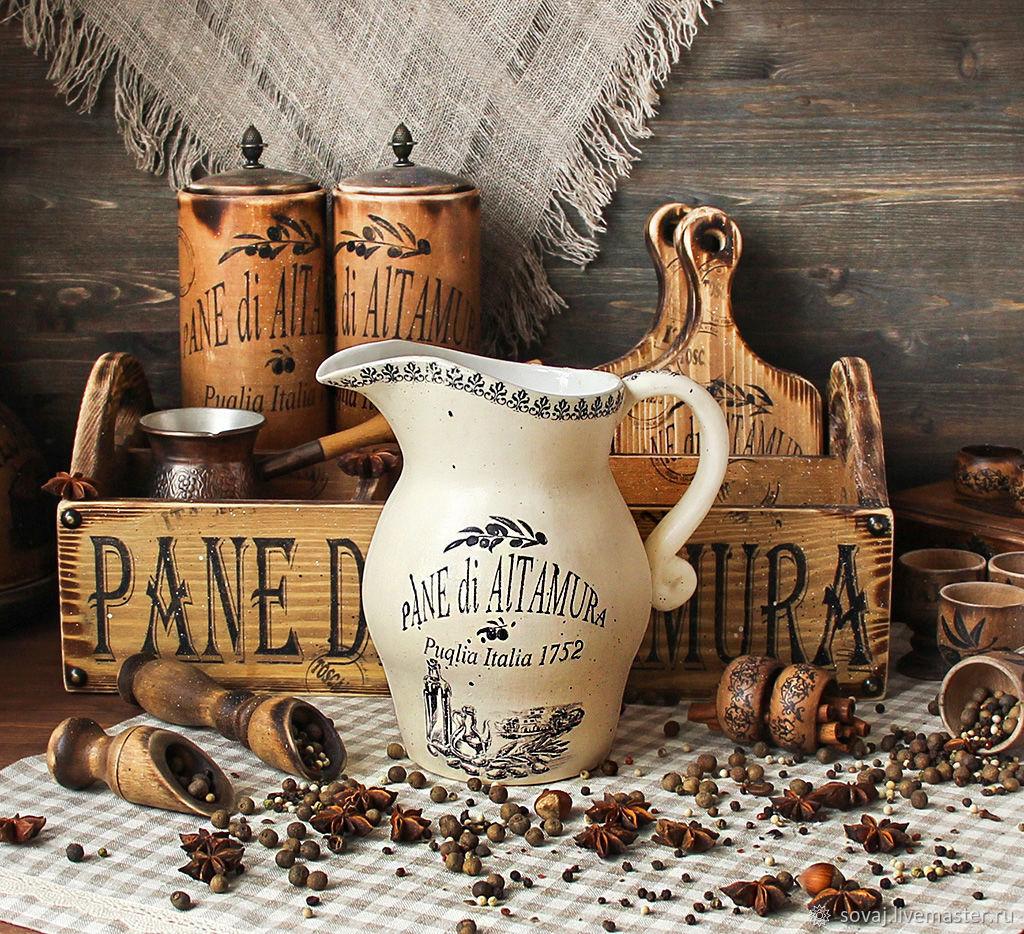 """Графины, кувшины ручной работы. Ярмарка Мастеров - ручная работа. Купить Кувшин керамический """" Лето В Италии"""". Handmade."""