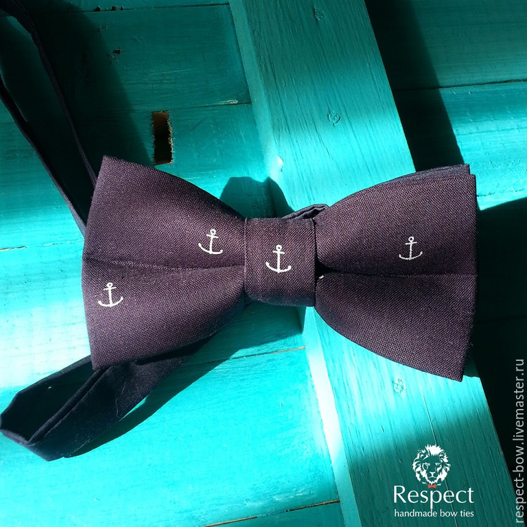 Tie the Sailor / butterfly-tie is dark blue with anchors, Ties, Moscow,  Фото №1