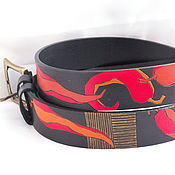 Аксессуары handmade. Livemaster - original item CHILI PEPPERS belt leather. Handmade.