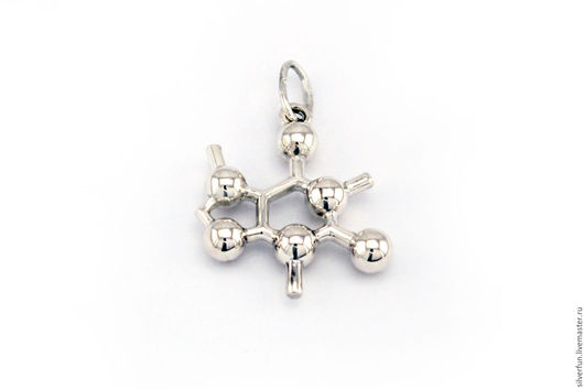 Серебряный кулон. Молекула Кофеин. Серебро. Мастерская SilverFun, г. Новосибирск.