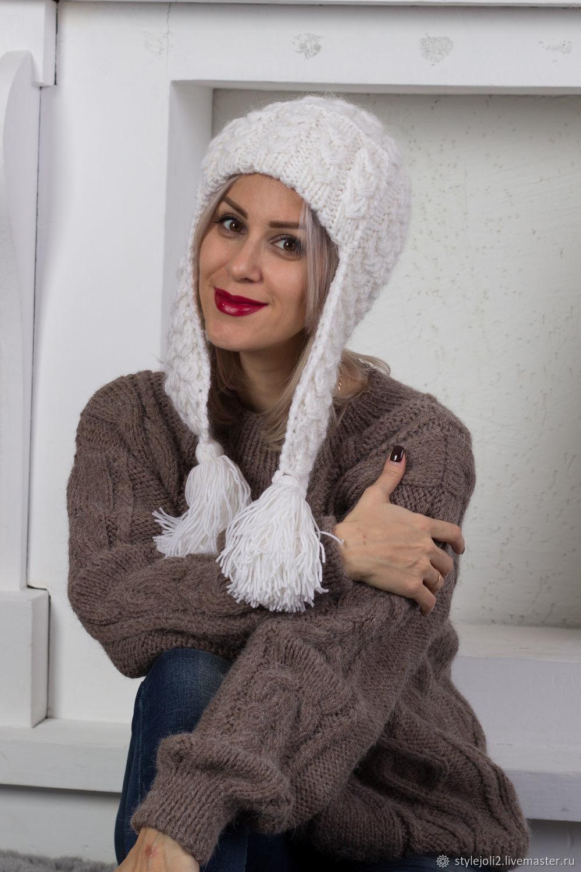 снежная хакасия вязаная шапка с ушами на подкладе купить шапку