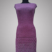 Одежда handmade. Livemaster - original item Crochet dress Downtown Jazz. Purple elegant handmade cocktail dress. Handmade.