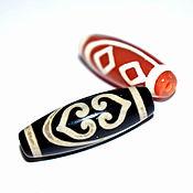 Материалы для творчества handmade. Livemaster - original item Tibetan Dzi Bead 2 eyes and 2 hearts. Handmade.