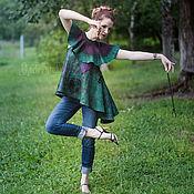 Одежда ручной работы. Ярмарка Мастеров - ручная работа Туника Темный изумруд из войлока. Handmade.