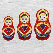 Материалы для творчества handmade. Livemaster - original item Set Applique Russian Matryoshka Embroidered Lace Stripe. Handmade.