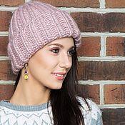 Объемная женская шапка розового цвета