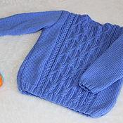 Работы для детей, ручной работы. Ярмарка Мастеров - ручная работа Васильковый пуловер для мальчика. Handmade.