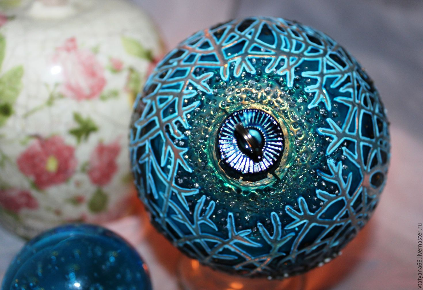 Gl Christmas Ball With Stained Painted Blue Forest Paint