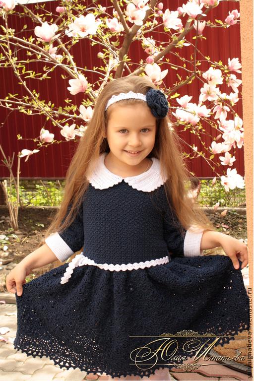Платье в школу крючком