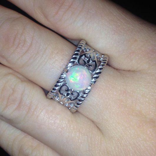 """Кольца ручной работы. Ярмарка Мастеров - ручная работа. Купить """" Ажур"""" кольцо с опалом Эфиопии. Handmade. Опал"""