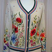 Кофты ручной работы. Ярмарка Мастеров - ручная работа Жакет с вышивкой Цветочный луг. Handmade.